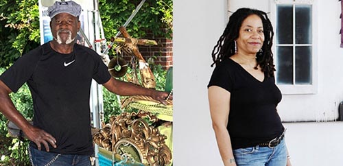Two images, side by side, of an older Black man and woman