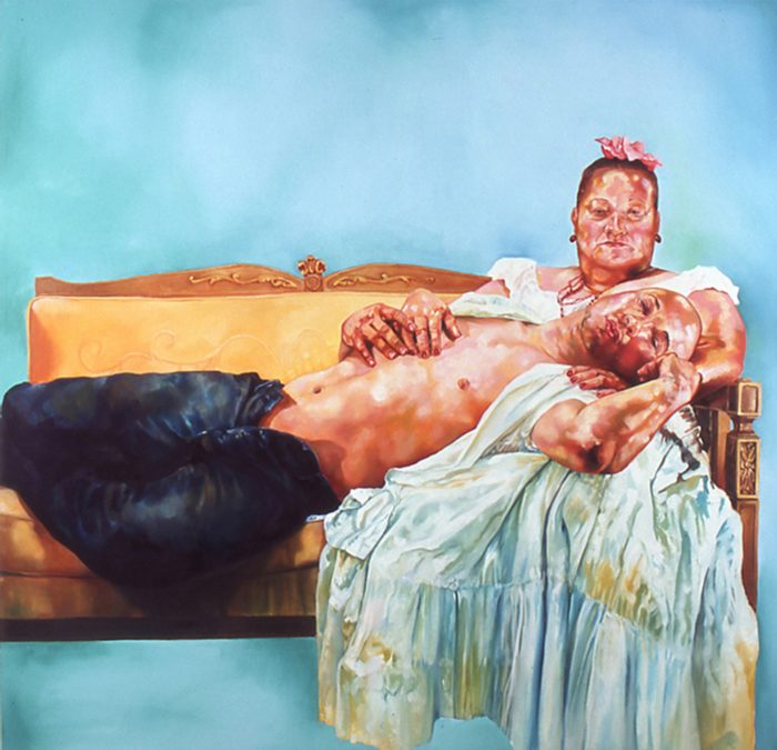 Painting of a shirtless man lying on a couch, resting his head on an older women