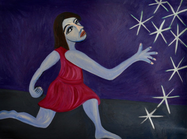 Painting of a blue woman wearing a read dress throwing jacks against a purple background