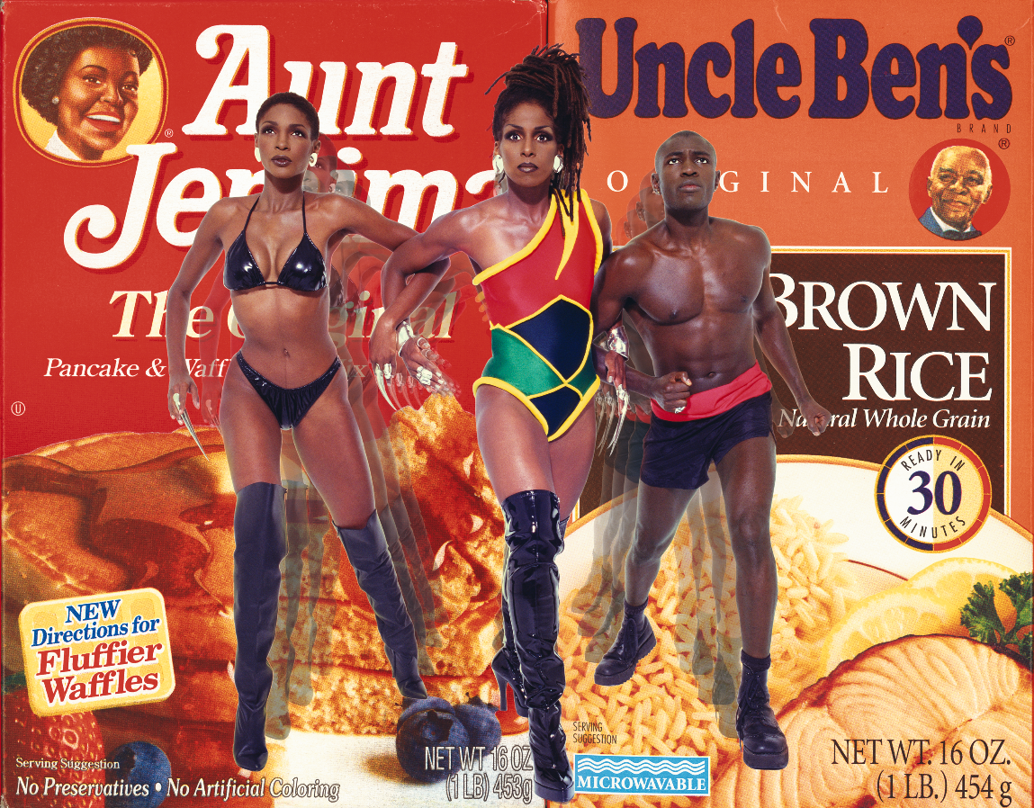 A black woman superhero rescues another black woman and a black man, representing Aunt Jemima and Uncle Ben, from their servitude
