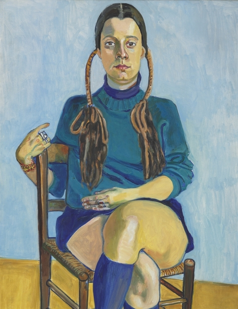 Painting of a woman, dressed in blue, sitting in a chair, against a blue wall