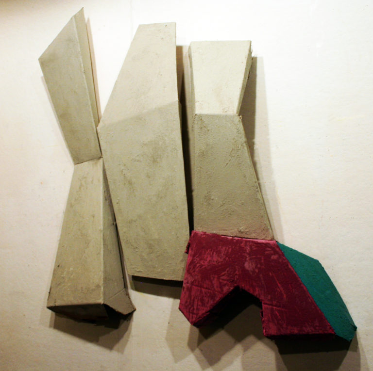 3D wall sculpture in gold, red and green