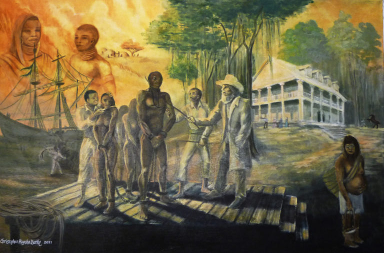Painting with enslaved people and plantation owners