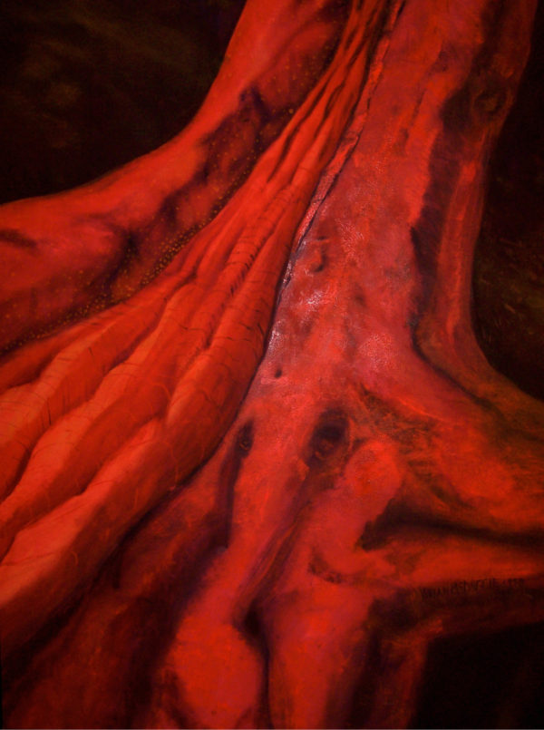 Painting of a tree trunk in red with a dark background