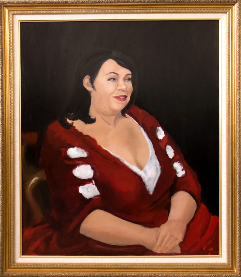 A portrait of a woman in a red dress