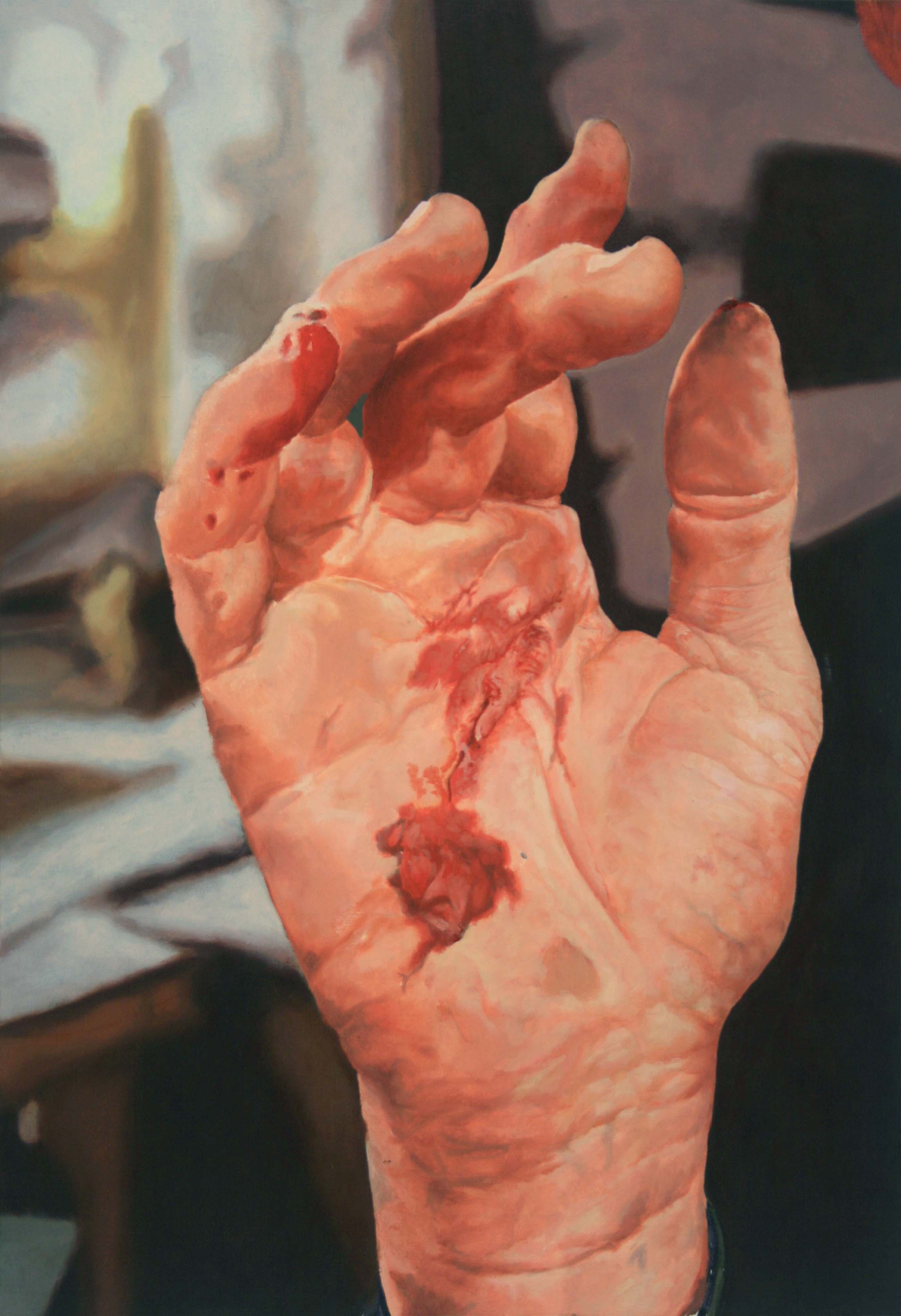 Painting of a white hand with a cut on the palm