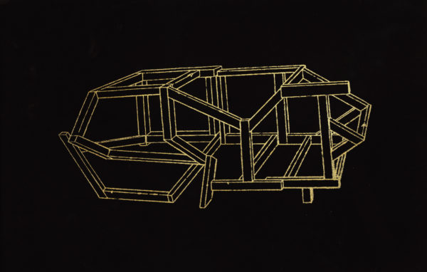 A linear, abstract drawing in yellow on a black background