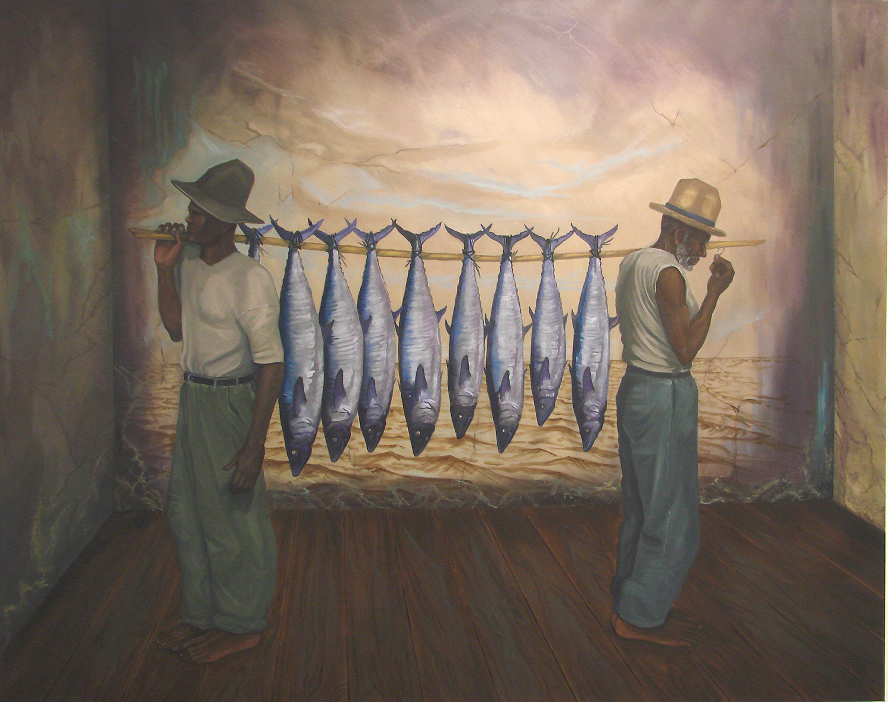 Painting of two men carrying 8 fish on a long, slender piece of wood