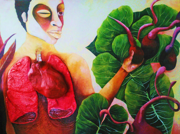 An painting depicting a person with visible lungs and heart holding a beet-like vegetable surrounded by large green leaves