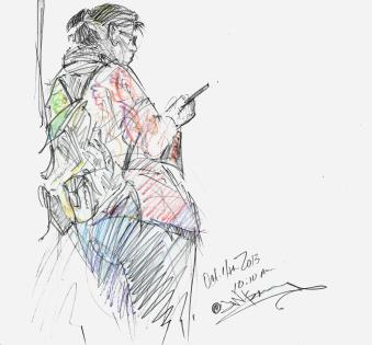 Sketch of a subway rider leaning against a pole