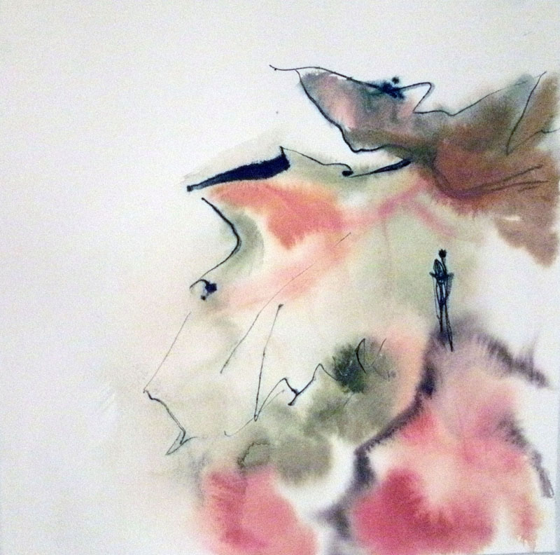 Abstract watercolor painting in pink and beige