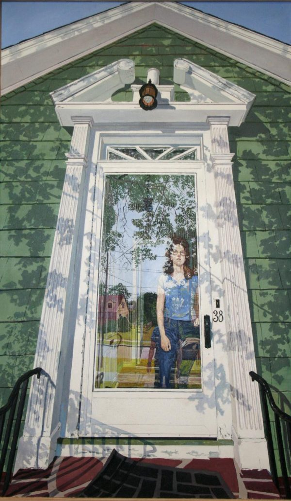 A painting of a girl looking through a glass door