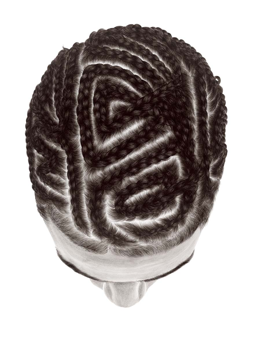 View of the top a head with braided hair