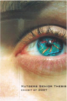 Photo of colorful blue eye with striations of yellow and red