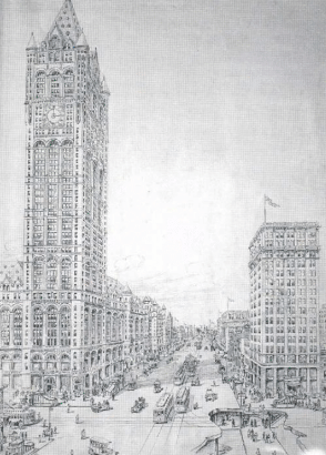 Vintage illustration of Downtown Newark
