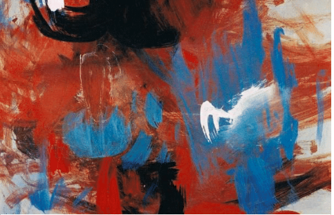 Abstract painting with marks of red, blue, white, black and grey