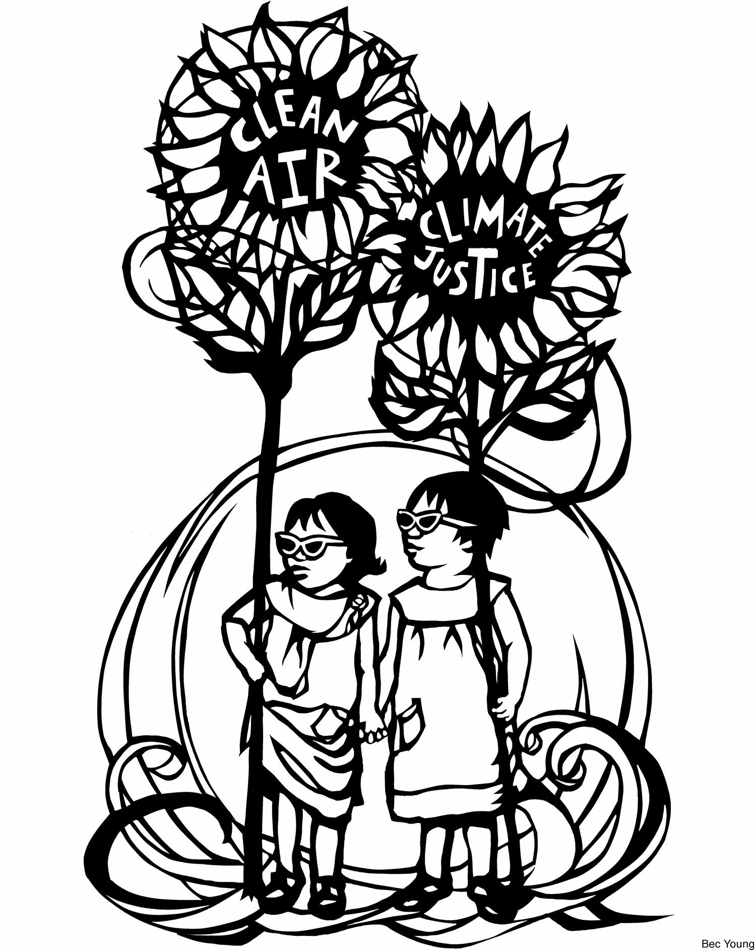 "Black and white graphic coloring book image of two children standing in between giant sunflowers that say ""clean air, climate justice"""