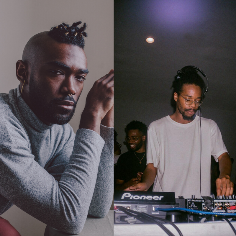 photo collage, left portrait of Khari Johnson Ricks in a grey turtleneck straing at the camera. Right photo DJ Tah in a white t-shirt looking down at DJ equipment.