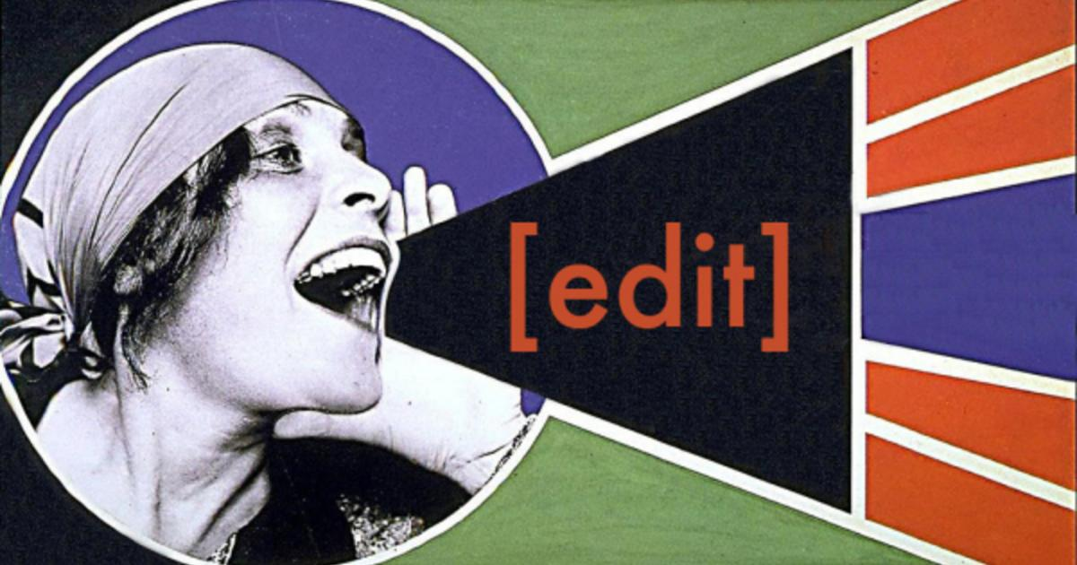 black and white photograph of a woman with a scarf on yelling the word edit with a colorful background