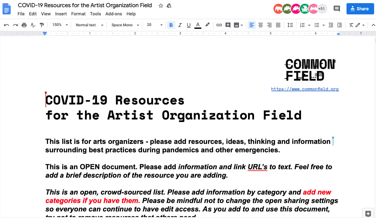 A screen shot of a Google Doc with a list of COVID-19 Resources for the Artist Organization Field