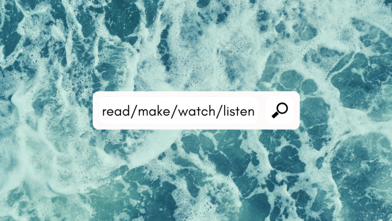 "The words, ""read, make, watch, listen,"" in a search bar against the background of ocean waves"