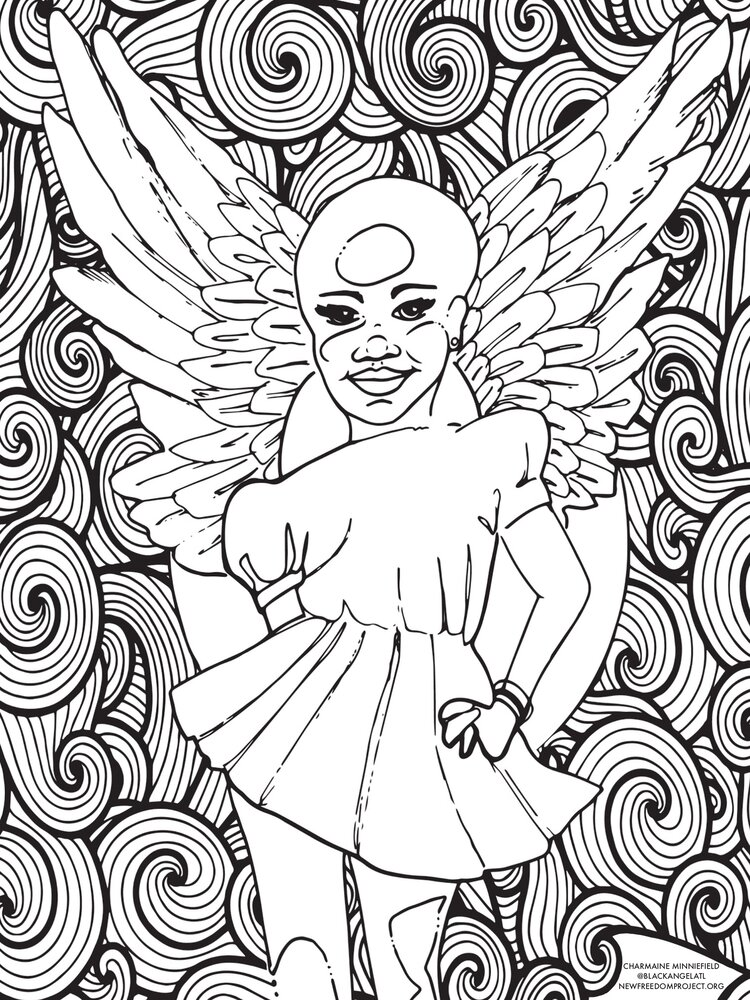 A coloring page in black and white, depicting a fairy against a swirling background