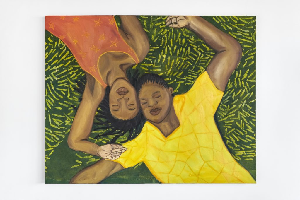 A painting of two Black women lying in the grass.