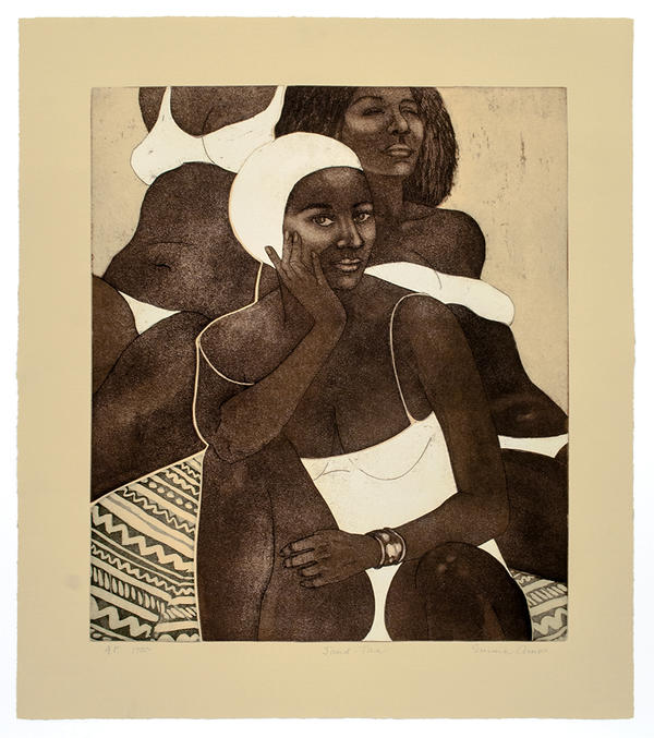 An etching depicting three Black women at the beach.